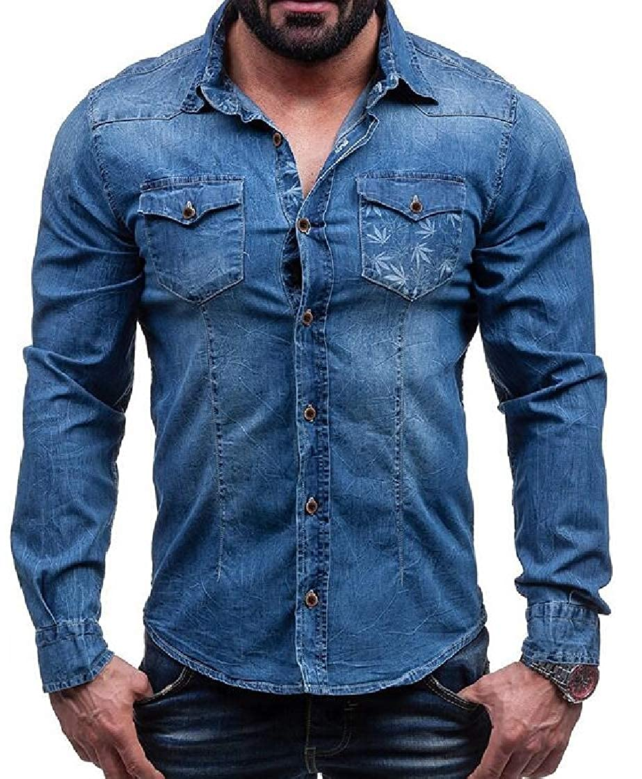 YYear Mens Lapel Curve Hem Leaf Buttons Casual Slim Fit Flap Pockets Denim Shirts