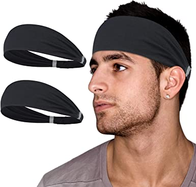 habibee 8 pcs Headbands for Women Men Sweatband Workout Non Slip Headband Elastic Moisture Wicking Hairband for Yoga Running fits All Men /& Women