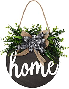 QUNWREATH Welcome Sign , Rustic Front Door Decor, Round Wood Hanging Sign with Eucalyptus, Farmhouse Porch Home Decoration ,Thanksgiving Christmas Gift(12inch) (Home Black board)