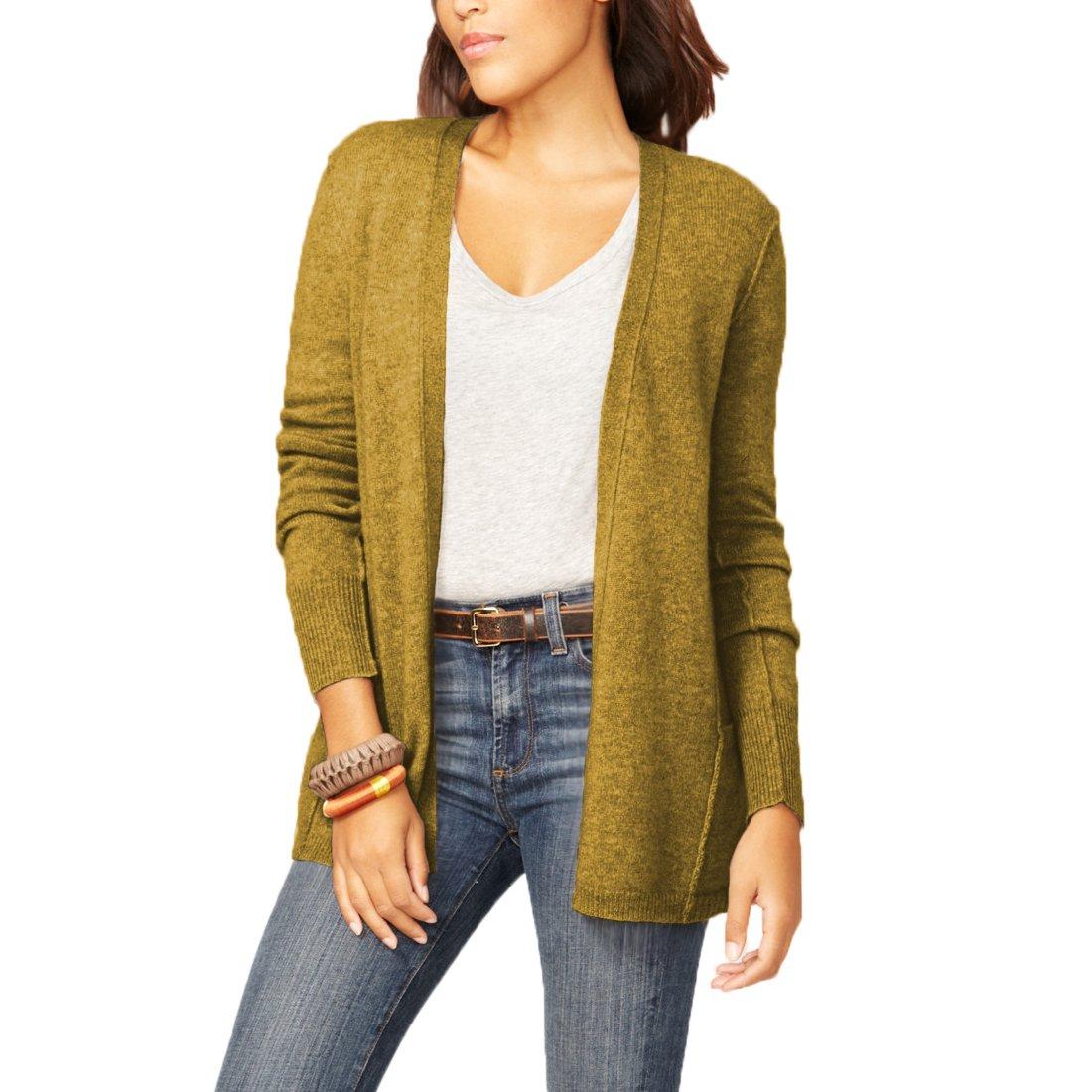 Parisbonbon Women's 100% Cashmere V-Neck Cardigan Color Goldenrod Size S