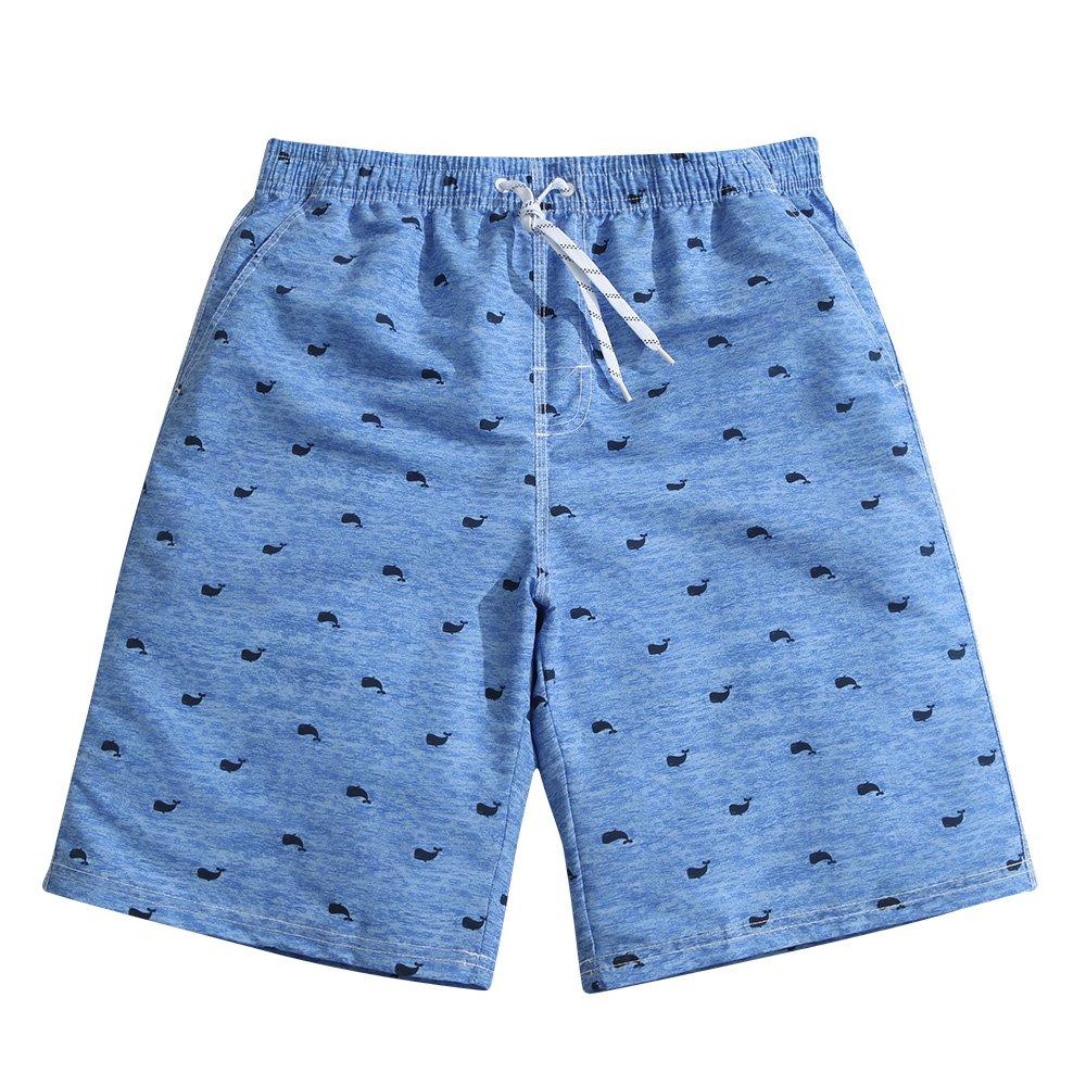 Sulang メンズ スリムフィット 超速乾 水泳パンツ ボードショーツ (メッシュ裏地なし) B0747WQWLJ XL|Blue Whale Blue Whale XL