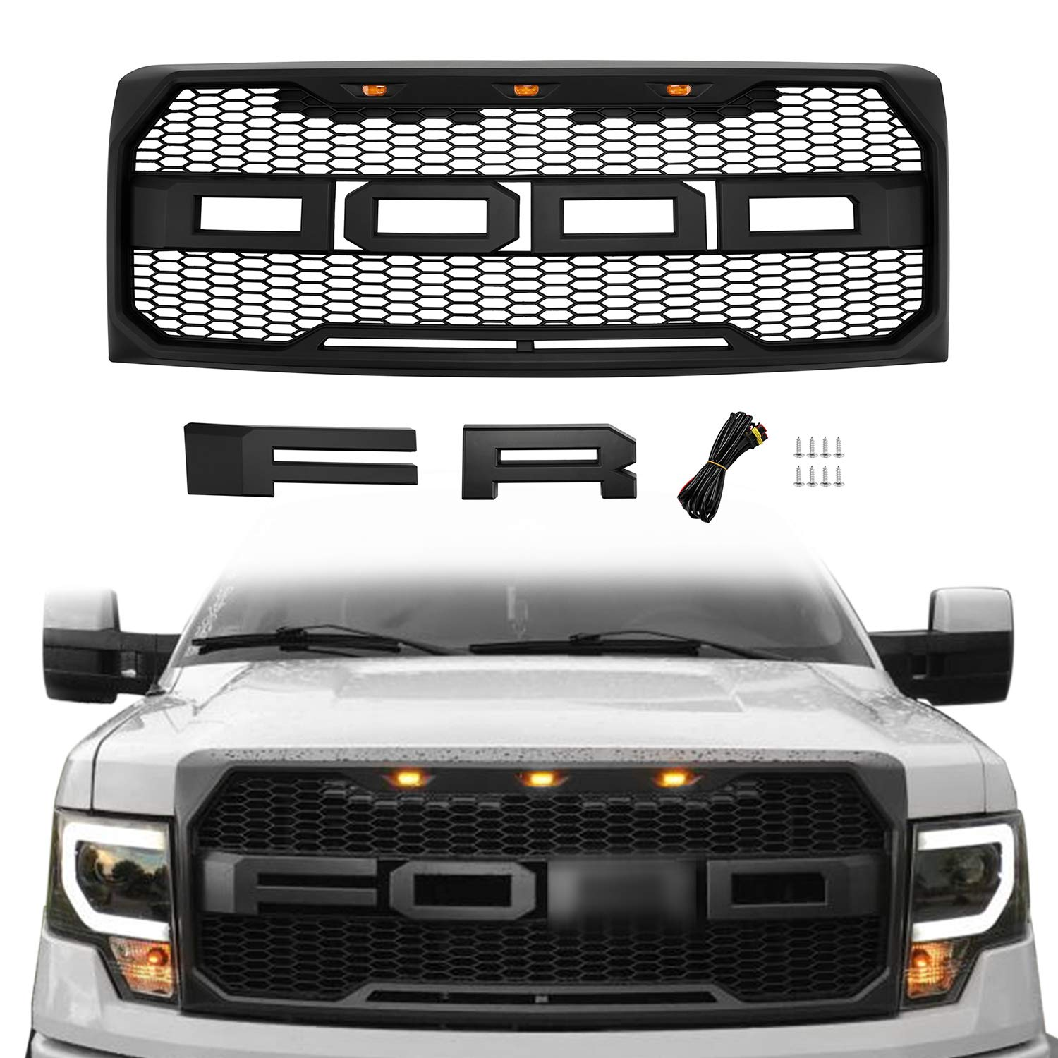 Seven Sparta Front Grill for Ford F150 2009-2014, Raptor Style Grill for Ford Grill Replacement, Matte Black