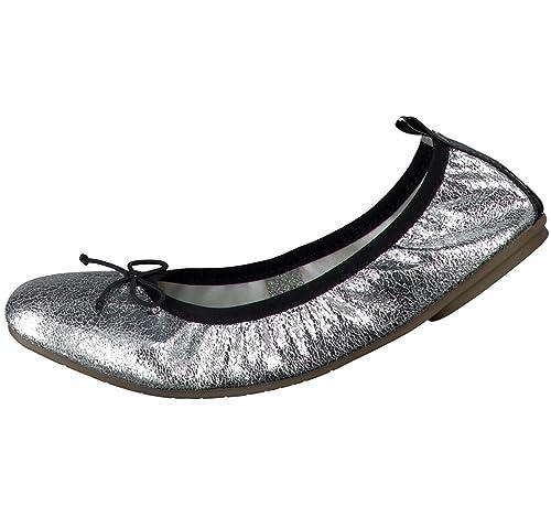 Tamaris Schuhe 1-1-22113-28 Bequeme Damen Ballerina, Metallic