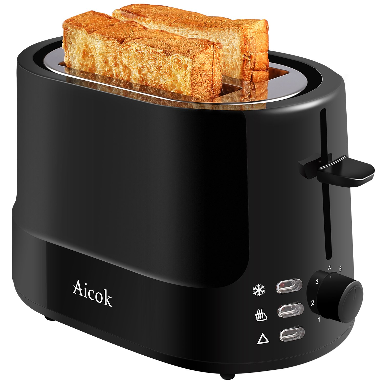 Aicok Tostadora Tostador rebanadas tostadora profesional niveles tostado con eyección automática temperatura