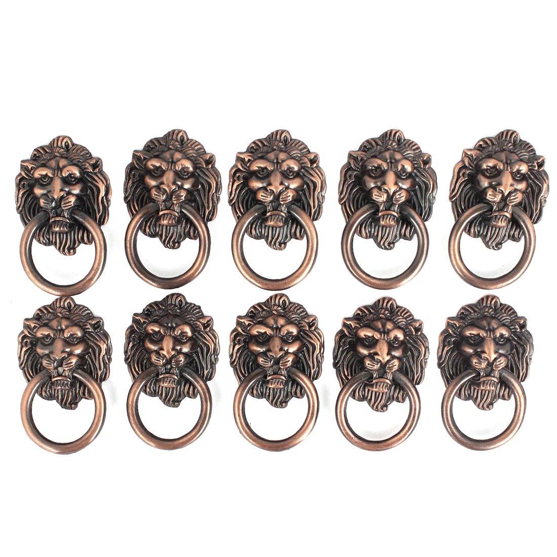 Dresser Drawer Cabinet Door Ring Lion Head Pull Handle Knob 10pcs