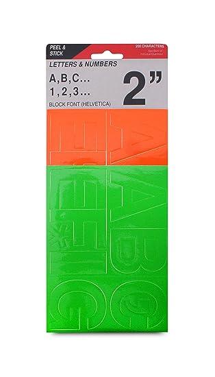 2 peel stick vinyl letters and numbers helvetica font fluorescent orange