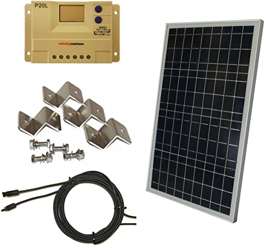 Complete 30 Watt Solar Panel Kit 30w Polycrystalline Solar Panel 20a Charge Controller Mc4 Connectors Mounting Z Brackets For 12v Off Grid Battery Charging Boat Rv Gate Amazon Ca Patio