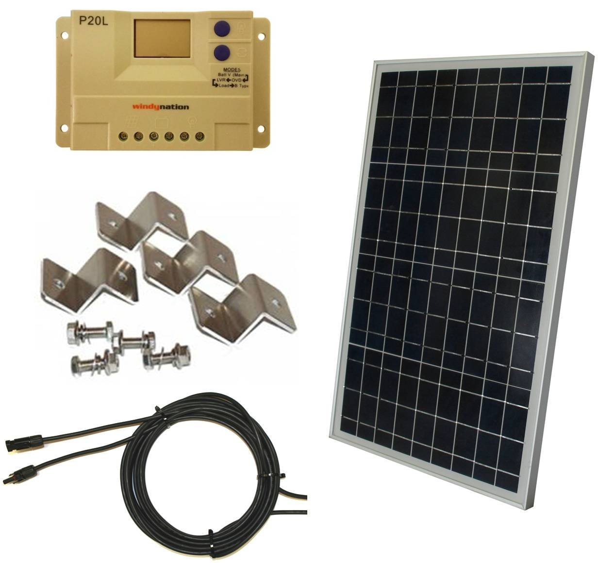 Amazon.com : Complete 30 Watt Solar Panel Kit: 30W Polycrystalline Solar  Panel + 20A Charge Controller + MC4 Connectors + Mounting Z brackets for  12V Off ...