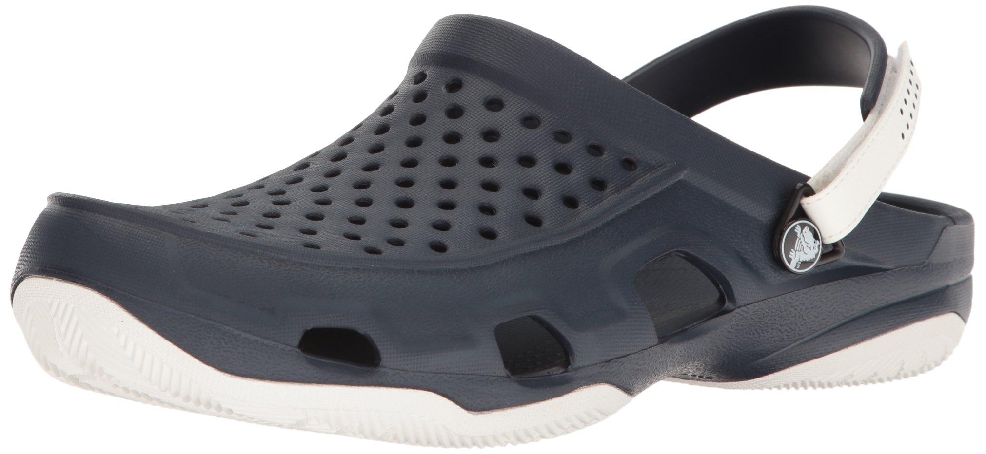 crocs Men's Swiftwater Deck Clog M Mule, Navy/White, 10 M US