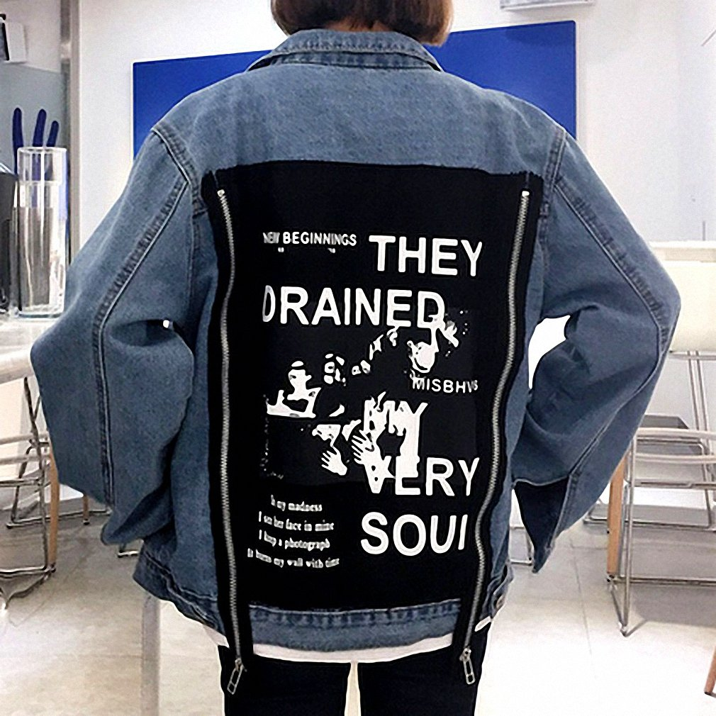 Womens Denim Jacket Bomber Jacket Patch Designs Denim Coats Loose Jeans Coats at Amazon Womens Coats Shop