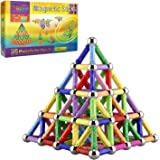 Veatree 160 Pcs Magnetic Building Sticks Blocks Toys, Magnet Educational Toys Magnetic Blocks Sticks Stacking Toys Set for Ki
