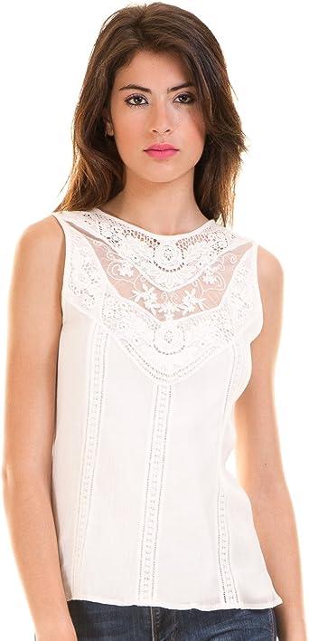 Vila Blusa Blanca ibicenca Clothes (XS - Blanco): Amazon.es: Ropa y accesorios