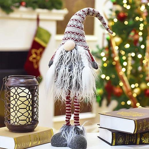 Valery Madelyn Adornos de Navidad Figuras Gnomo, 25.6in/65cm Decoraciones Muñeca de Navidad de Pie Nórdico Gnomo Sin Rostro, Figurillas de Fieltro ...