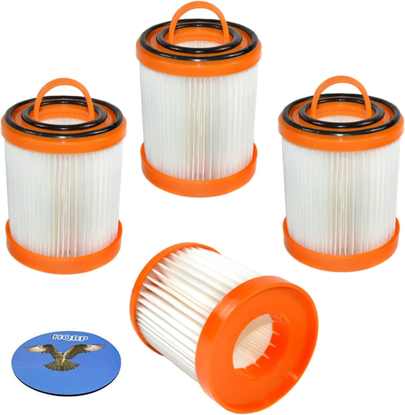 HQRP 4-Pack Dust Cup Filter for Eureka Bagless Vacuum Cleaners 62136, 62136A, 61825, 61825-R, DCF-3, DCF3, ER-1880, ER-1830, 71738A-4 Replacement Coaster