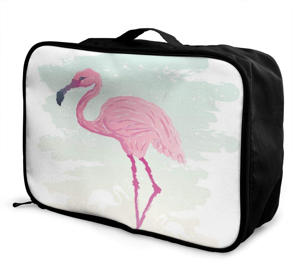 Yunshm Watercolor Pink Flamingo Background Illustration Customized Trolley Handbag Waterproof Unisex Large Capacity For Business Travel Storage