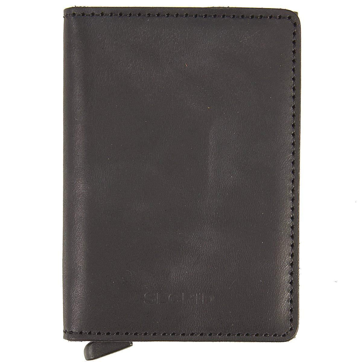 Secrid Slim Wallet Leather Vintage Black, Rfid Safe Card Case by Secrid