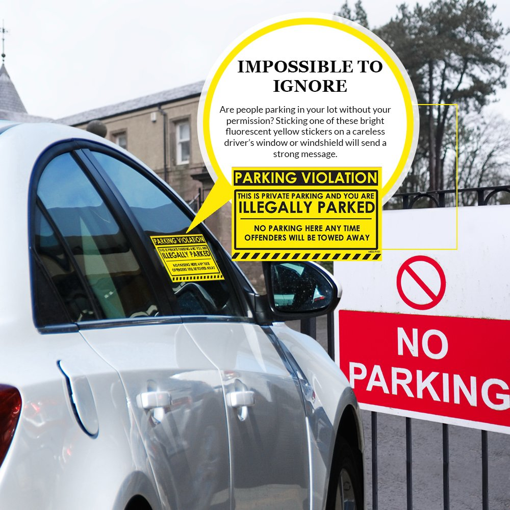 Amazon com parking violation stickers for cars fluorescent yellow 100 no parking illegally parked cars in private parking areas hard to remove super