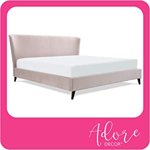 Adore Decor Adele Wingback Upholstered Platform Bed, Plush Velvet Fabric Curved Tall Headboard and Padded Frame, Classic Solid Wood Legs, King Size, Blush Pink