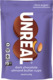 product image for UNREAL Dark Chocolate Almond Butter Cups | Vegan, Gluten Free, Less Sugar | 6 Bags