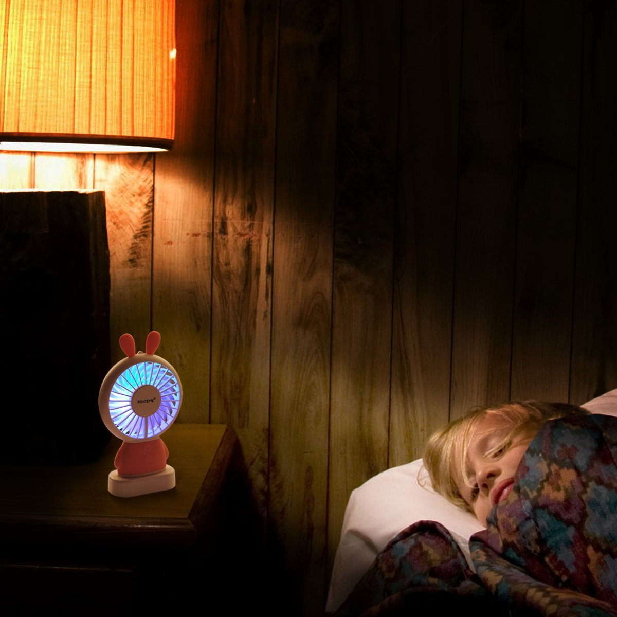 BONTIME Portable Fan - Mini Hand held Fan, Rechargeable USB Fan with Colorful Night Light, 2 Speeds, Cooling for Traveling, Fishing, Camping by BONTIME (Image #10)