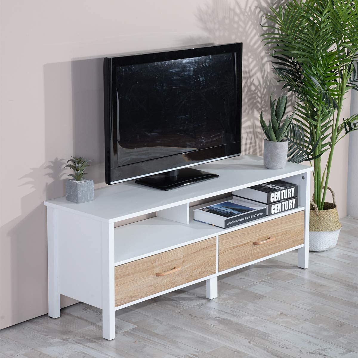 White TV Stand White Drawers Wall Cabinet TV Console with Two Lockers for 43 Inch, 46 Inch, 50 Inch TV
