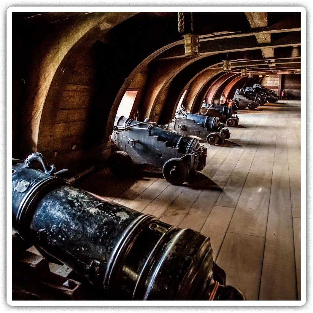 Pegatinas cuadradas impresionantes (juego de 2) 7,5 cm, diseño vintage pirata barco galeón pistolas divertidas para ordenadores portátiles, tabletas, equipaje, chatarra, neveras, regalo fresco #16158