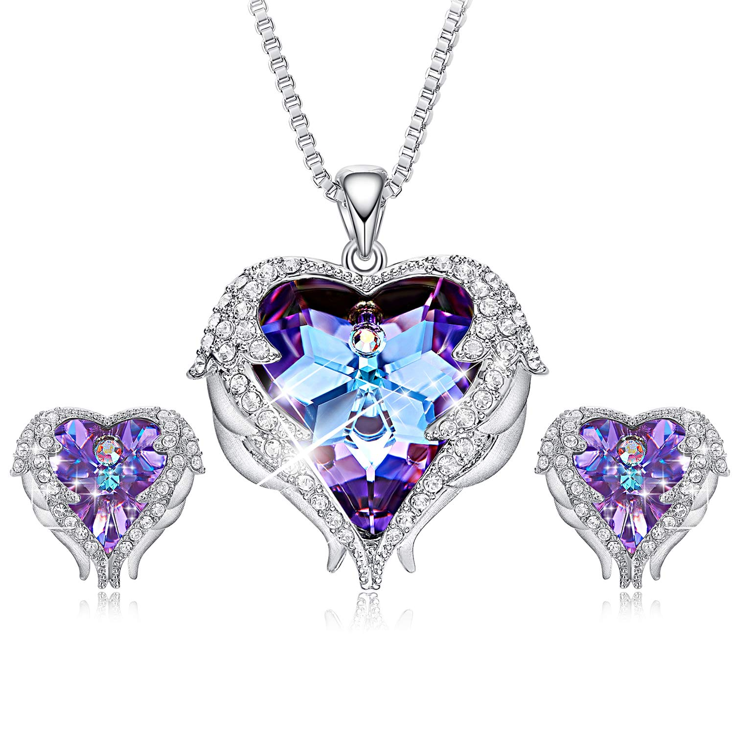 CDE Angel Wing Crystal Pendant Necklaces Purple Heart of Ocean Silver Stud Earrings for Women Birthday Jewelry Gifts for Girlfriend Girls Mom
