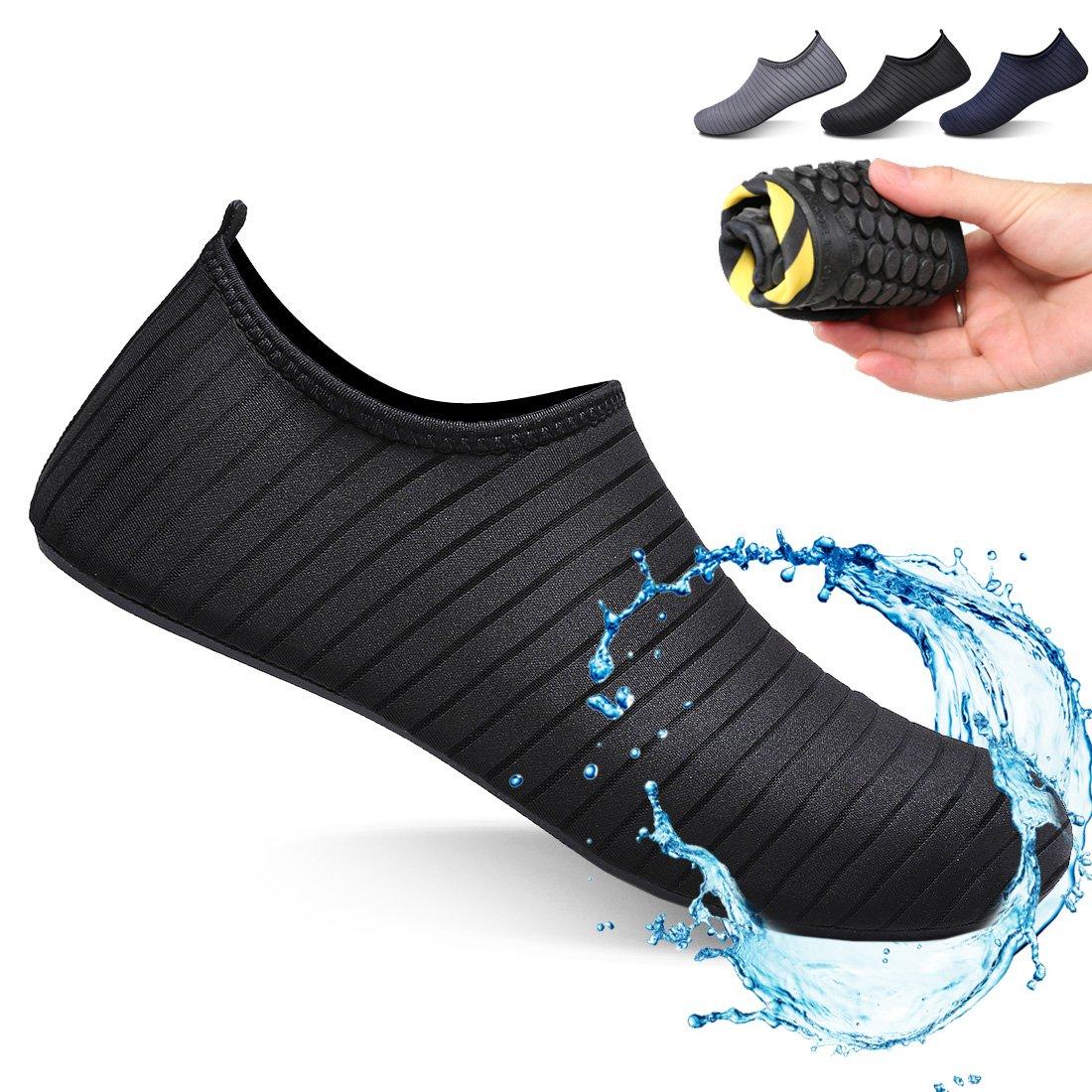 Ceyue Barefoot Water Shoes Breathable Water Sport Shoes Non-Slip Aqua Socks Beach Sandals for Men Women Black 45/46