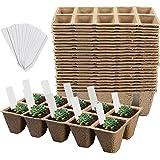 Litviz Seed Starter Peat Pots, 24 PCS (240Cells) Premium Biodegradable and Organic Germination Seedling Trays Kit for Indoor