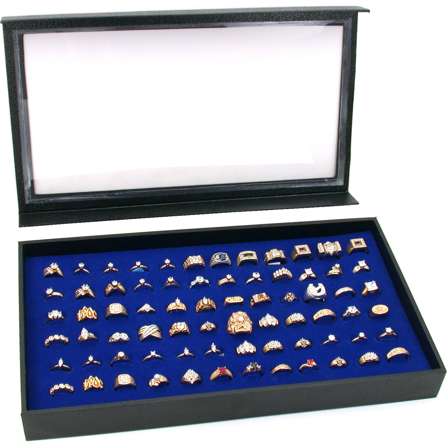 24dedd3ee Amazon.com: FindingKing 72 Ring Blue Jewelry Box Display Case Magnetic Lid  New: Jewelry Trays: Jewelry