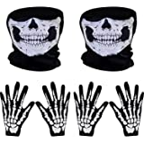 Pangda 2 Set White Skeleton Gloves and Skull Face Mask Ghost Bones for Adult Halloween Dance Party Costume