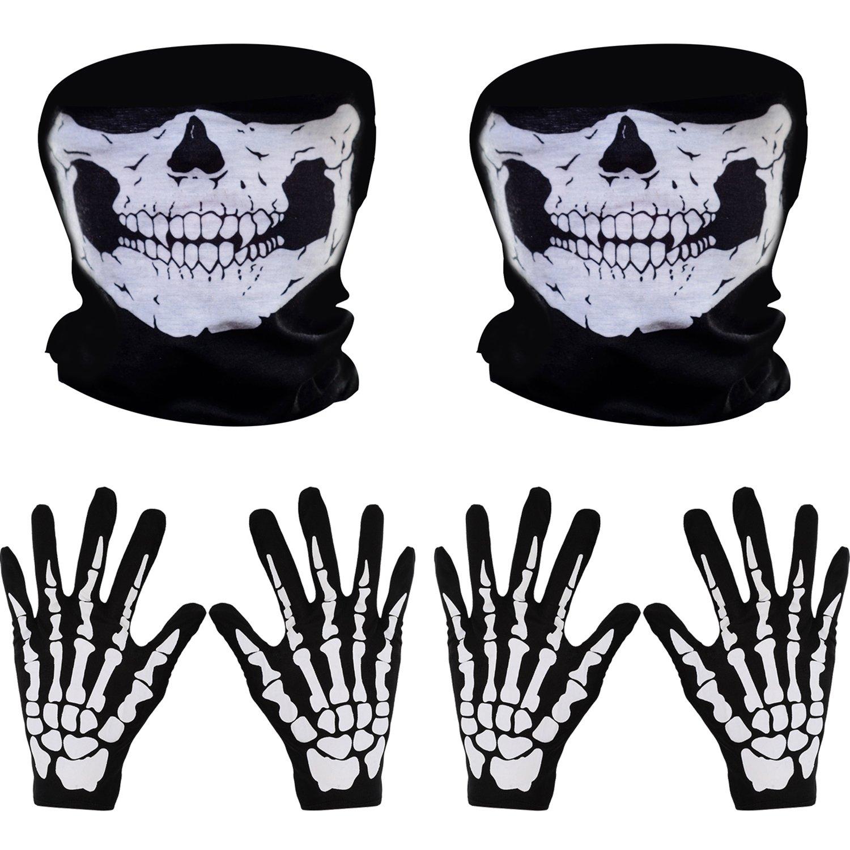 2 Set Weiß Skelett Handschuhe und Schädel Gesichtsmaske Geist Skelett für Erwachsene Halloween Tanzen Party Kostüm Pangda