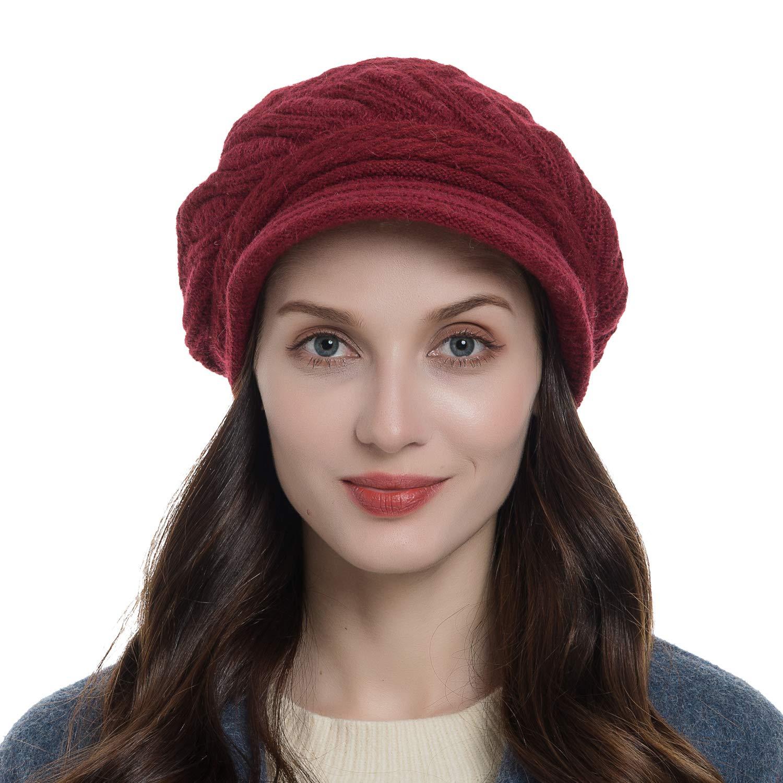 Diravo Womens Beanie Warm Winter Knitted Hat Slouchy Wool Ski Cap Beanie Visor NVST-DJ-004