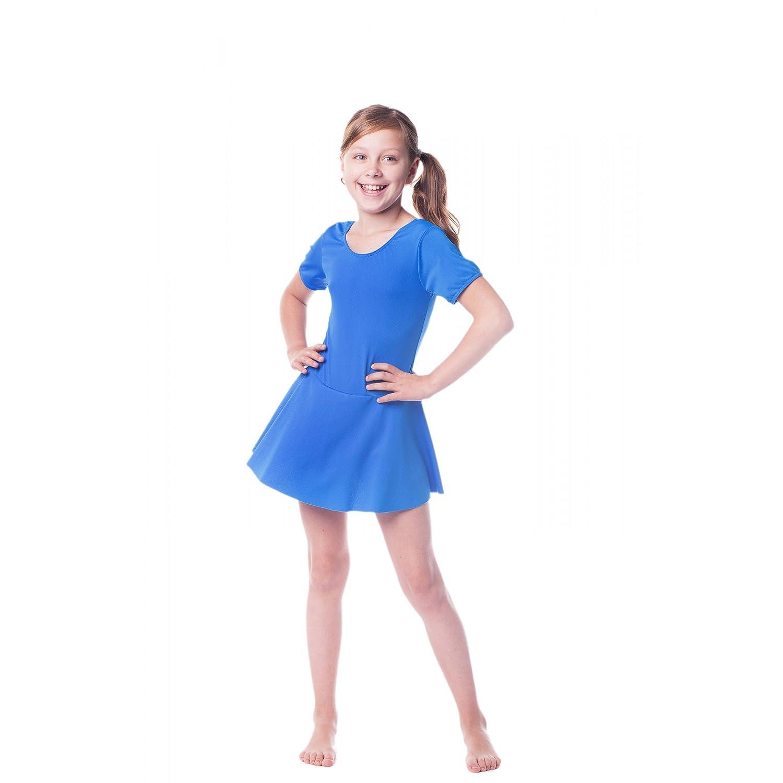 Kinder Ballettanzug Ballett Trikot mit Röckchen Mädchen Ballettkleid Tanzanzug Kurzarm Gymnastikanzug Rosa Schwarz