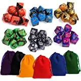 Kuuqa Polyhedral Dice Set Mixed Colors with Colorful Pouches Table Game Dungeons and Dragons DND MTG RPG Dice Complete Set, 7 x 6 (42 pieces)