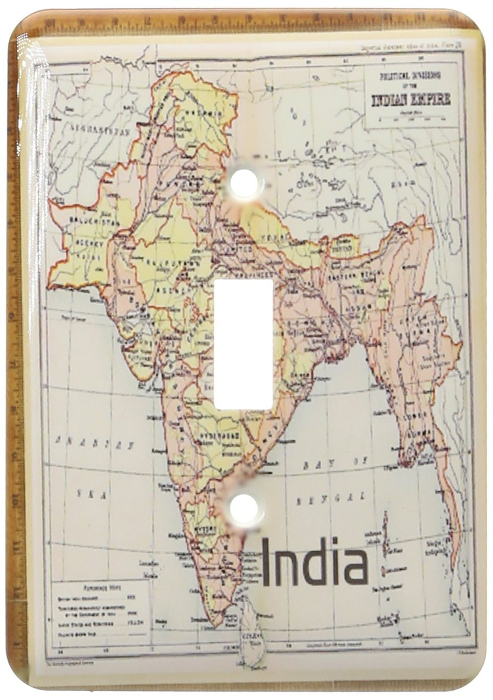 3dRose LLC lsp_155423_1 Vintage 1909 Map of India Single Toggle Switch