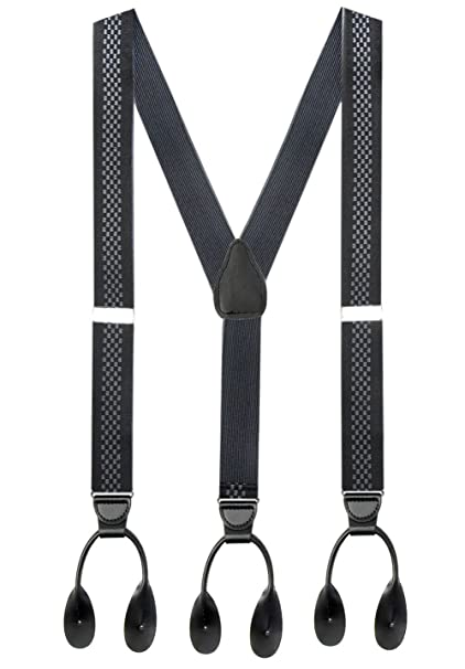 Men's Vintage Style Suspenders Hold'Em 1 ¼ Fancy Stripes and Solid Suspenders for Men – Y-Back Adjustable Leather Trimmed Button End $23.99 AT vintagedancer.com