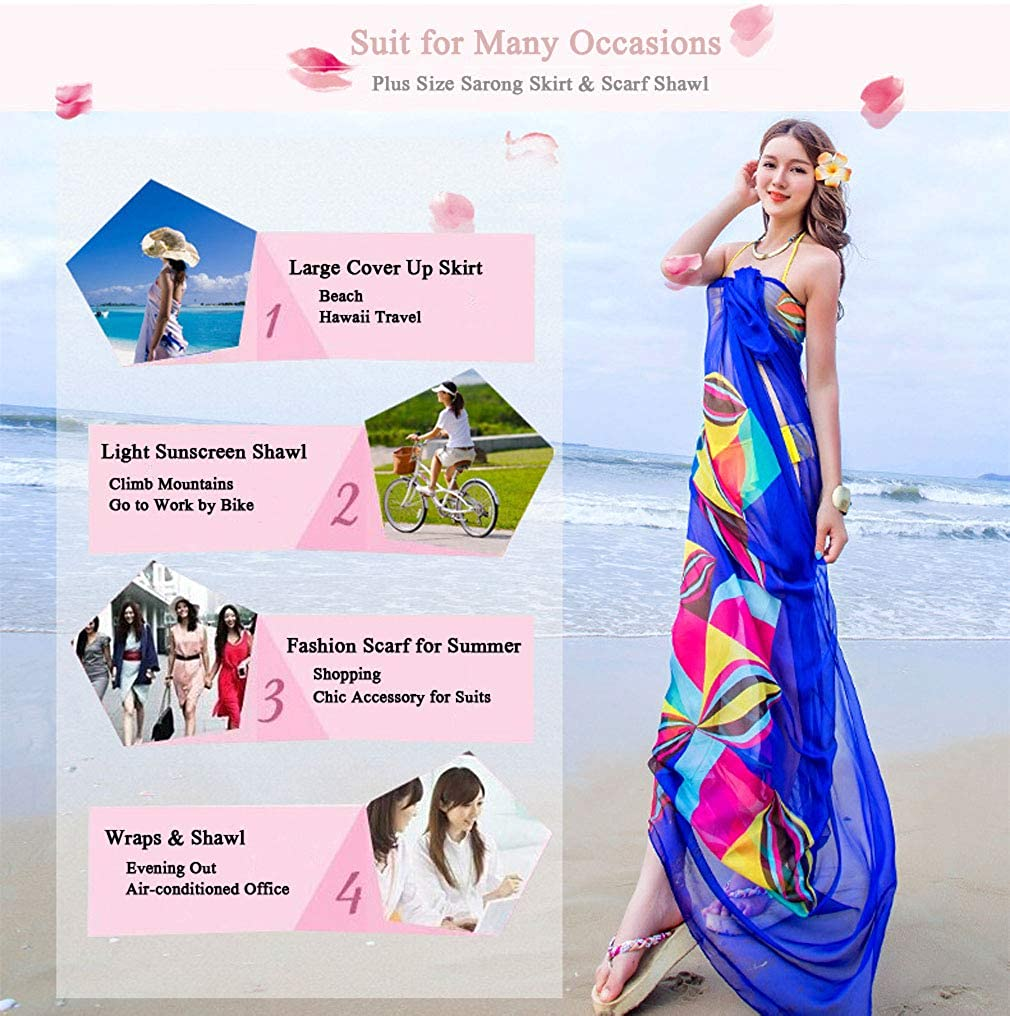 43741cdddc7c0 GERINLY Large Sarong Wrap for Women Plus Size Beach Cover Up Chiffon Thin Bathing  Suit Wrap Skirt Geometrical Design (Blue) at Amazon Women's Clothing store  ...