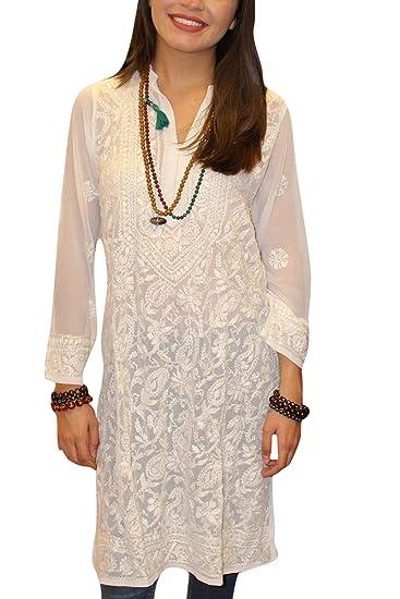 0e6919032a7 Mogul Interior Women White Long Tunic Dress Embroidered Georgette Sheer  Kurti Coverup M: Amazon.co.uk: Clothing