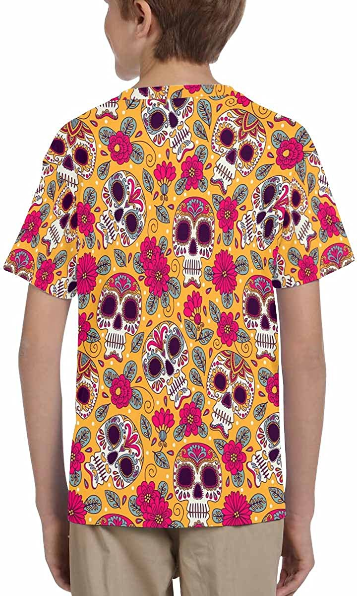 INTERESTPRINT Kids T-Shirt Skull and Flowers Background Mexican Day of The Dead Freehand XS-XL