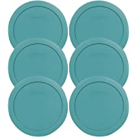 Pyrex 7201-PC 4 Cup Round Turquoise Plastic Food Storage Lid- 6 Pack (container not included)