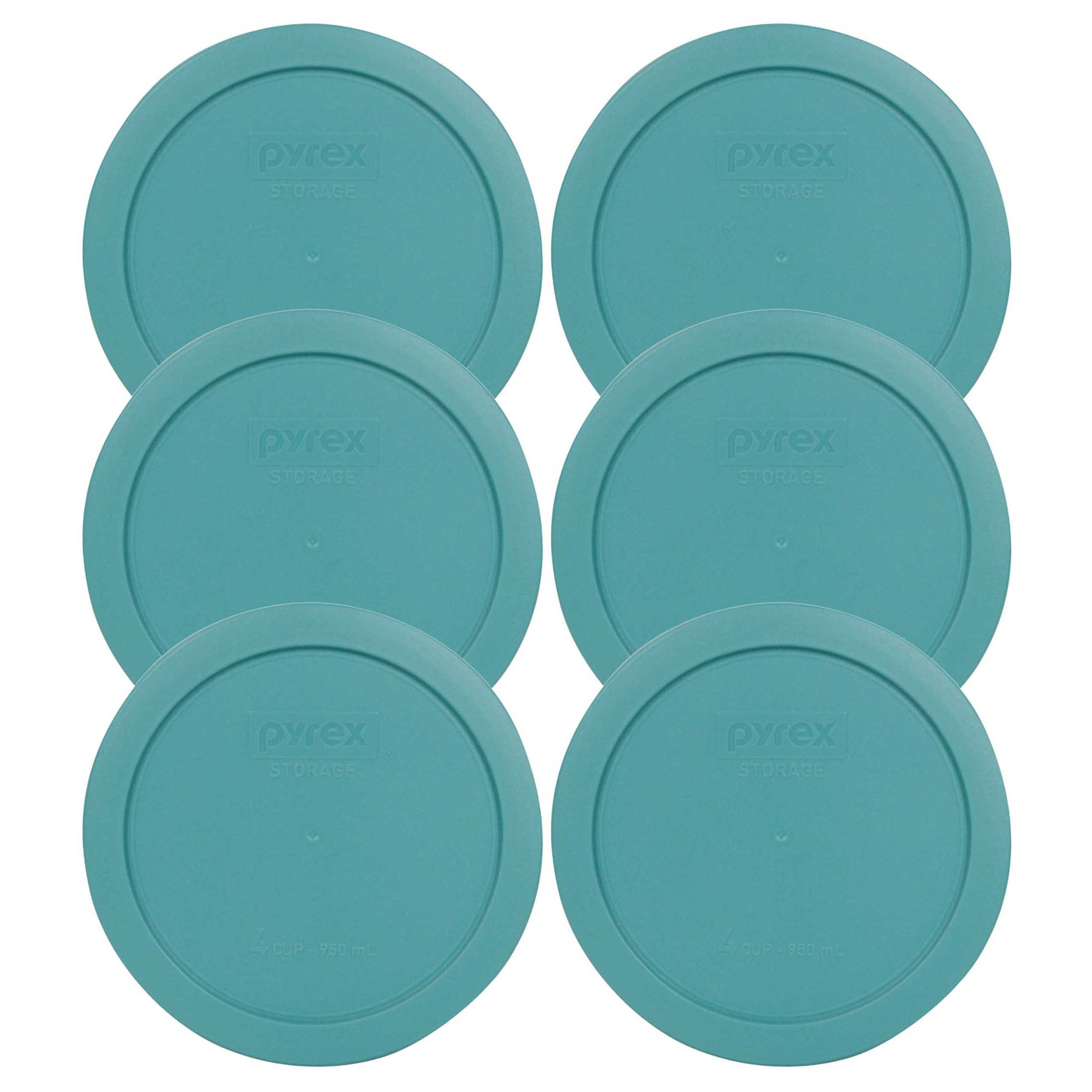 Pyrex 7201-PC Round 4 Cup Storage Lid for Glass Bowls (6, Turquoise) by Pyrex