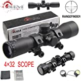 PROSUPPLIES @ AIM SPORTS® Tactical 4X32 Compact .223 .308 Scope /w Rings Rangefinder reticle