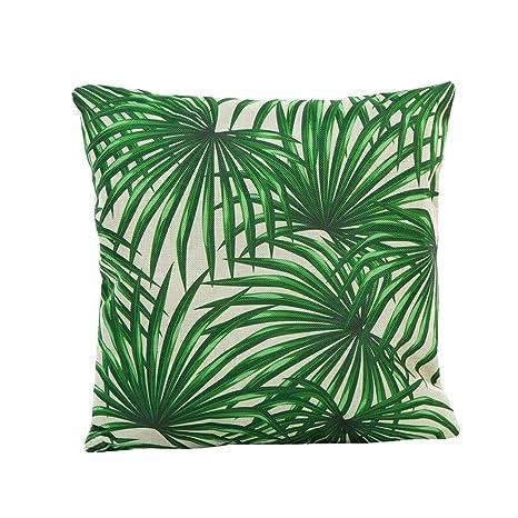 Funda de Almohada, ❤️ Manadlian ❤️ Cojín Tropical Verde Hojas de Planta Manta Funda de Almohada para sofá Coche decoración para el hogar (H)