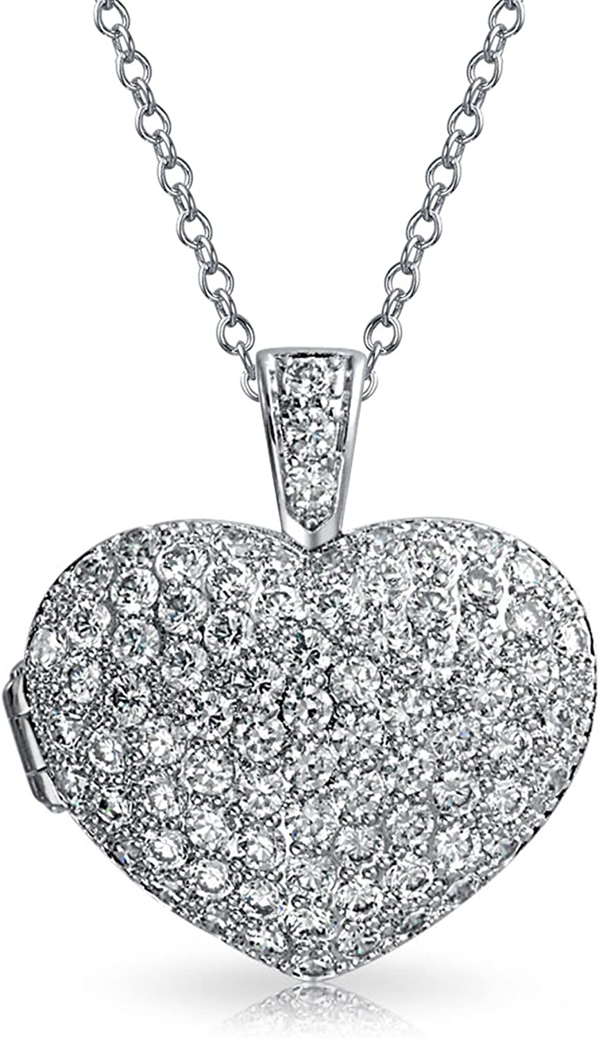 Bling Jewelry Large Pave Cubic Zirconia CZ Puff Heart Shape Pendant Necklace for Women for Teen 925 Sterling Silver