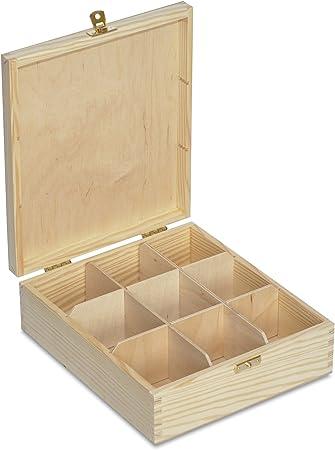 Creative Deco Caja para Té en Bolsitas Madera | 9 Compartimentos | 23,5 x 20,5 x 7,5 cm | Varias Medidas Disponibles | con Tapa y Cerradura | Ideal para Decoupage, Decoración y Almacenaje: Amazon.es: Hogar