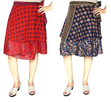 c51753ec8d3cd Maple Clothing Wholesale 2 Pcs Lot Two Layers Women's Indian Sari ...