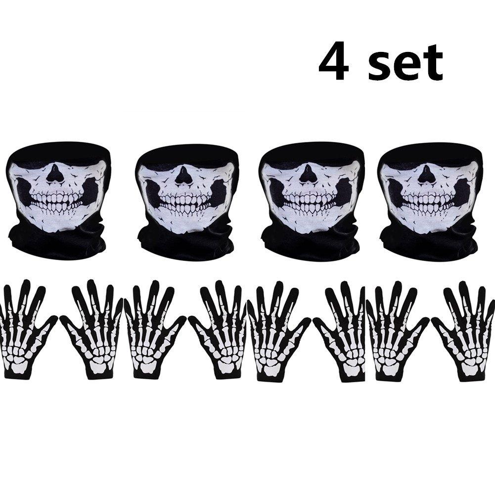 MZYARD 4 Set White Skeleton Gloves and Skull Face Mask Ghost Bones for Adult Halloween Dance Party Costume