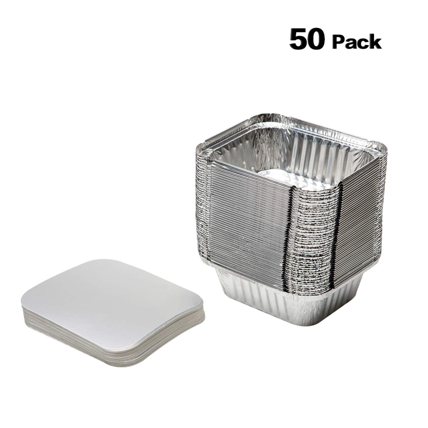 XIAFEI New Disposable Durable Aluminum Oblong Foil Pan, Take-Out Pans, Pack of 50 With Board Lids
