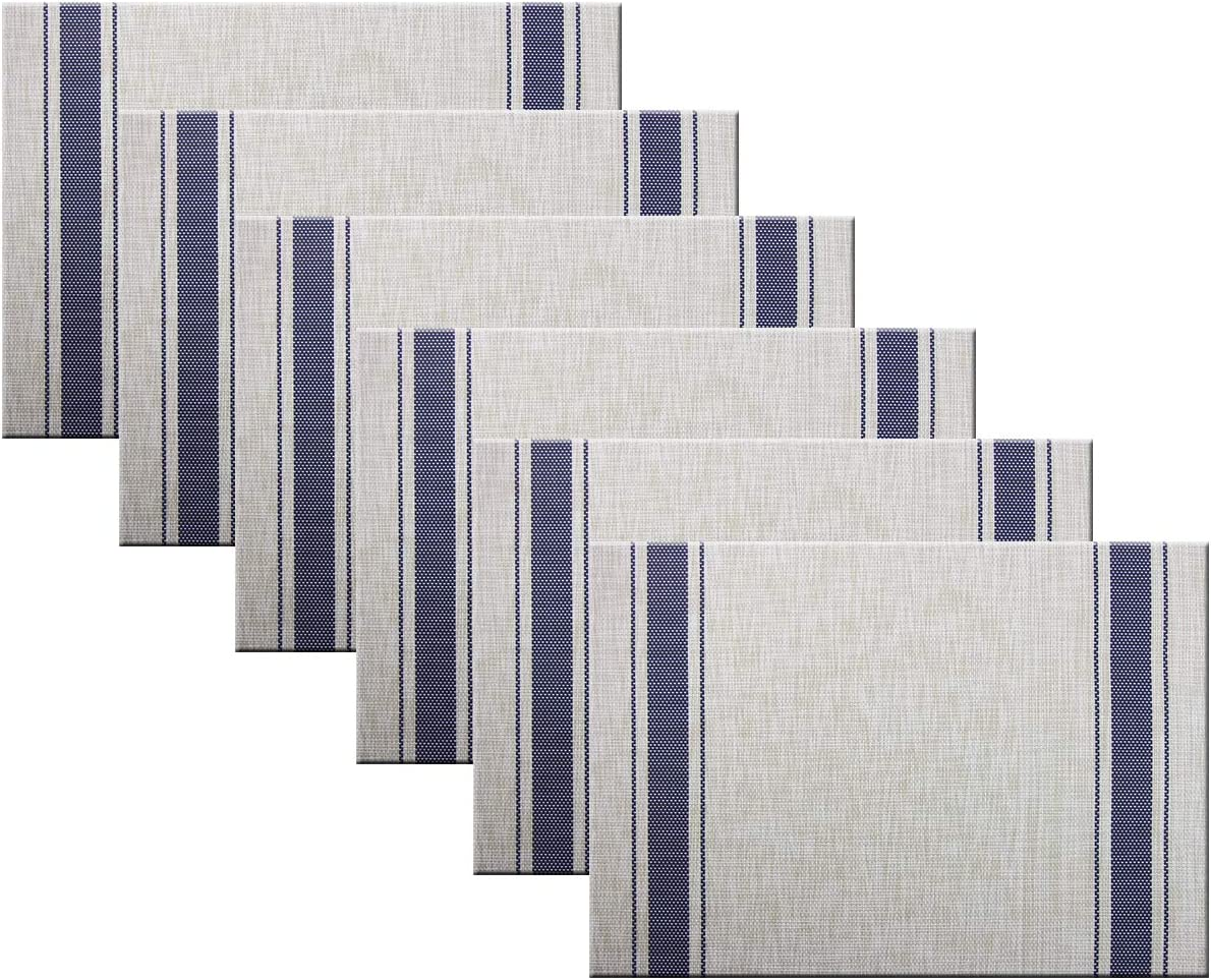 BECHEN Placemats Set of 6, Washable Easy to Clean Table Placemats Non-Slip Heat-Insulation Indoor Outdoor Placemat (Navy-Blue)